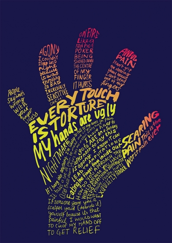 Typographical illustrations of hand by Nick Chaffe represented by Meiklejohn